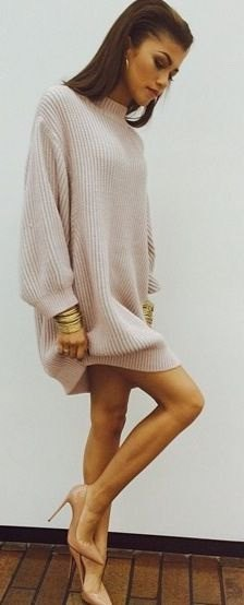 white mock neck oversized knit sweater