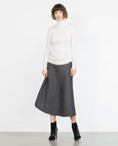 white mock neck sweater grey wool skirt