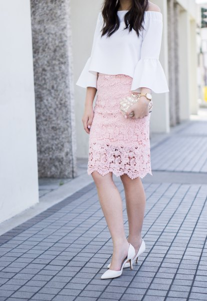 white off shoulder blouse blush pink lace skirt