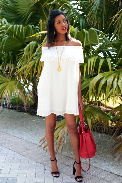 white off shoulder mini swing dress
