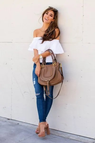 white off shoulder top ripped jeans