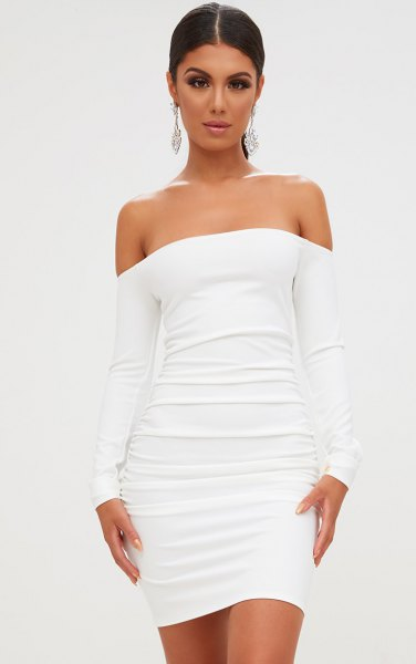 white off the shoulder ruched bodycon dress