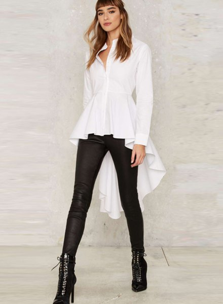 white peplum high low shirt with leggings