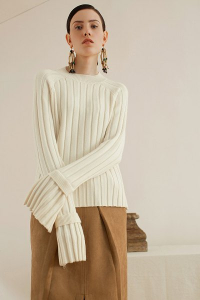 white ribbed sweater camel wool skirt