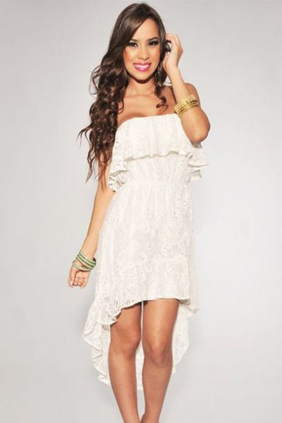 white ruffle strapless high low lace dress