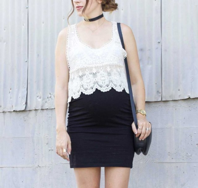 white semi sheer crochet vest top black pencil skirt
