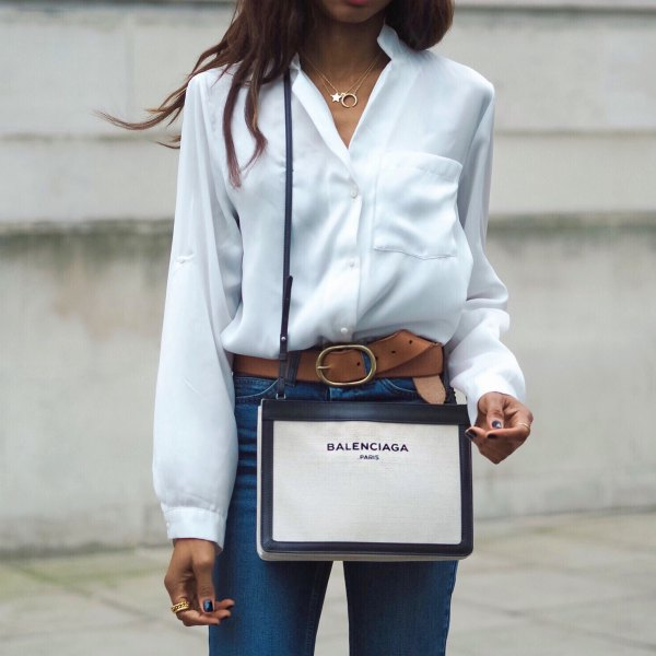white shirt jeans brown leather belt