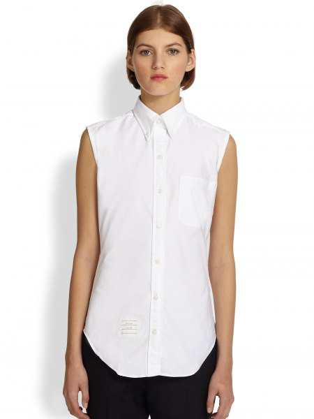 white sleeveless oxford shirt black pants