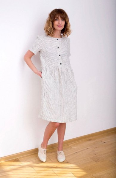 white striped button up knee length dress