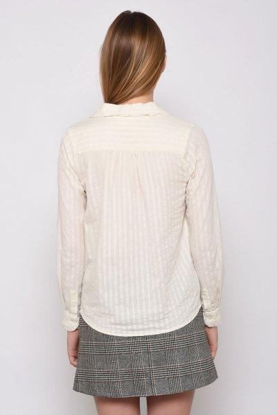 white striped lace shirt tweed mini skater skirt