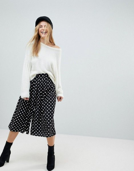 white sweater black polka dot wide leg culotte pants