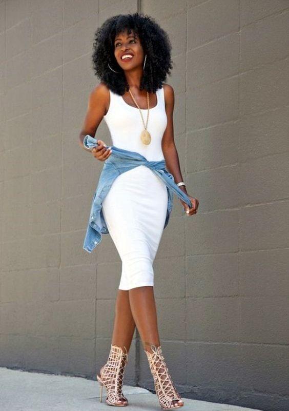 white tank dress denim jacket