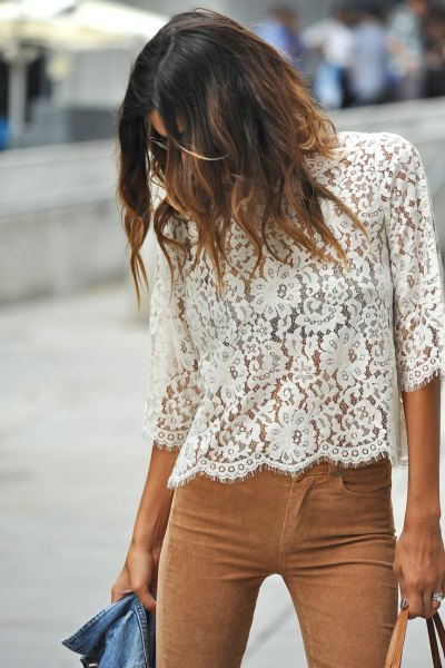 white three quarter sleeve lace top camel suede pants