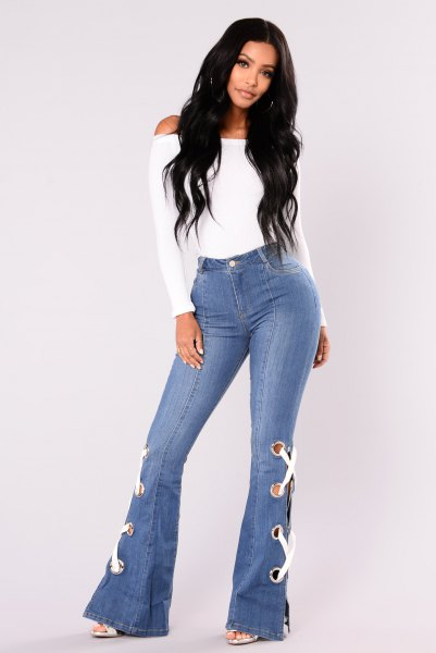 white top bell button jeans lace up details