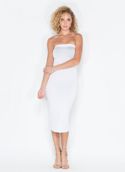 white tube midi dress nude strappy heels