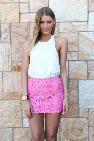 white vest top pink lace mini skirt