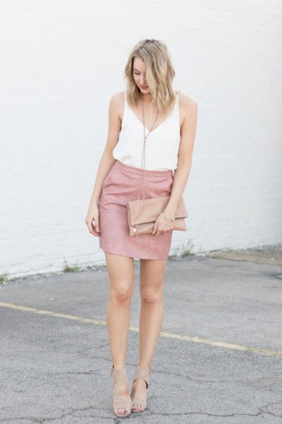white vest top pink skirt heels