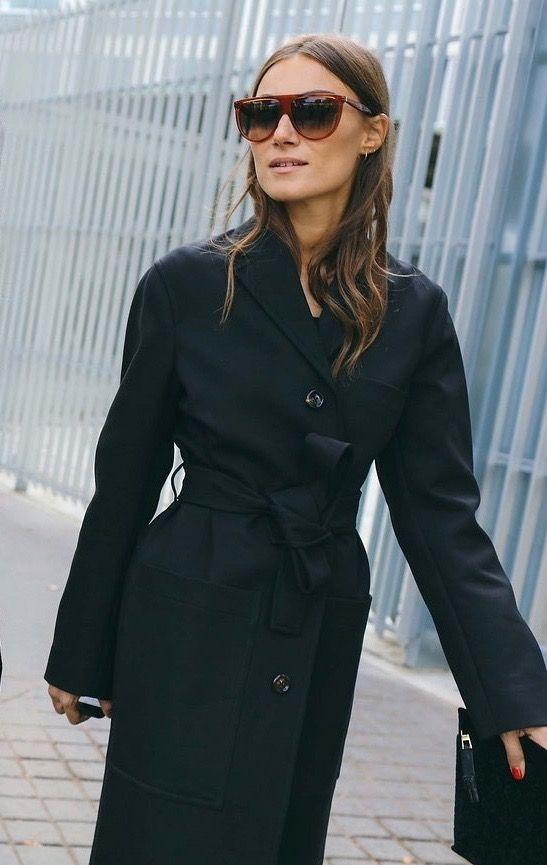 wool wrap coat black