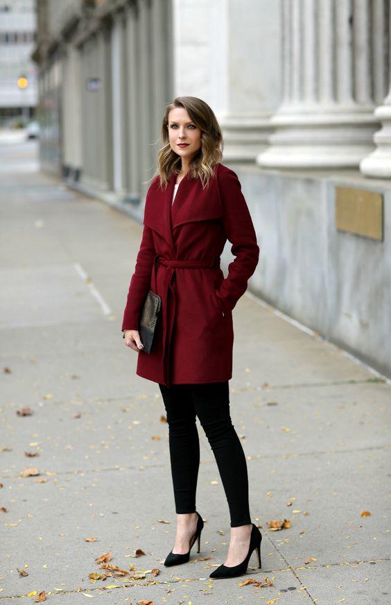 wool wrap coat burgundy