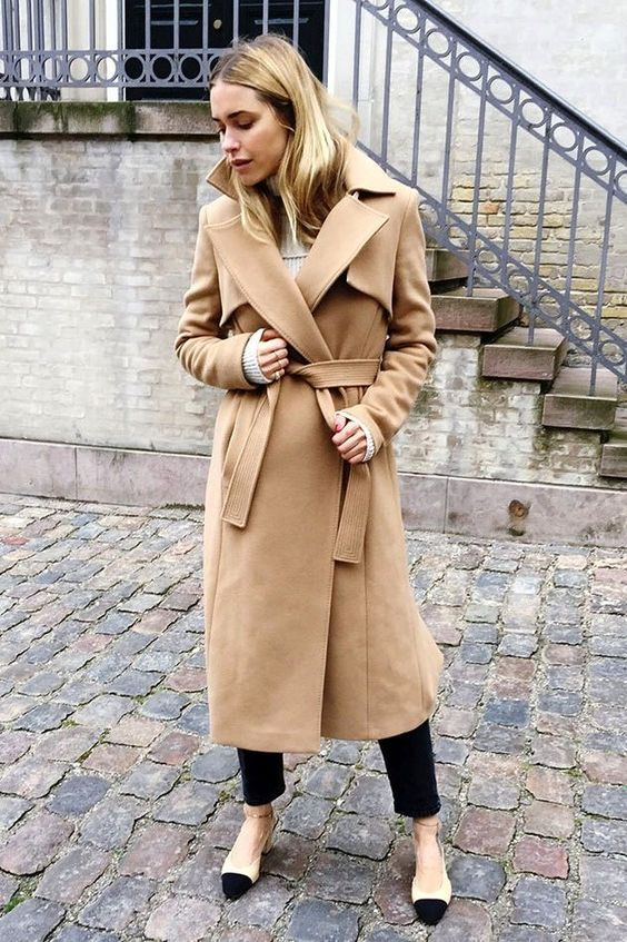 wool wrap coat camel classic