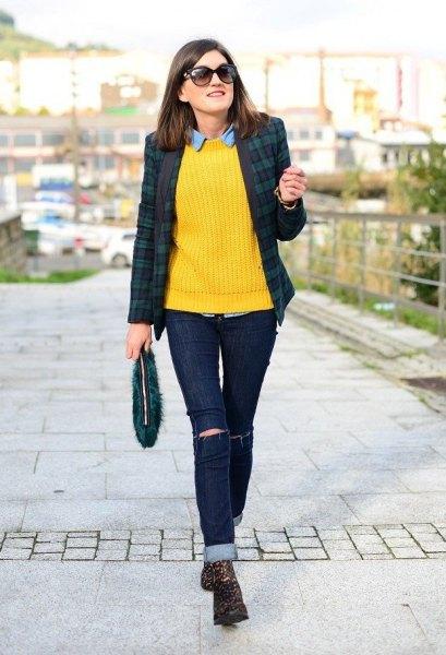 yellow knit sweater plaid blazer