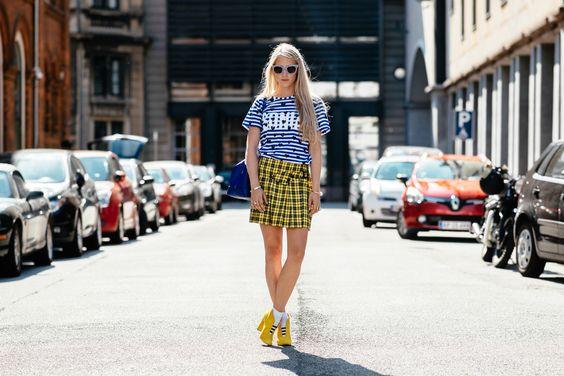 yellow plaid skirt mix patterns