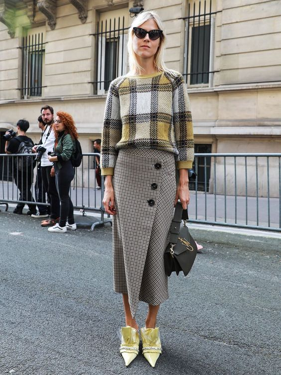 asymmetrical skirt sophisticated yellow plaid