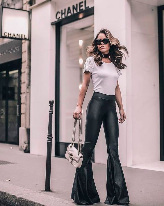 flare leggings classy leather