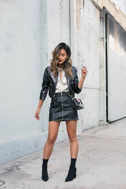 metallic top leather skirt jacket