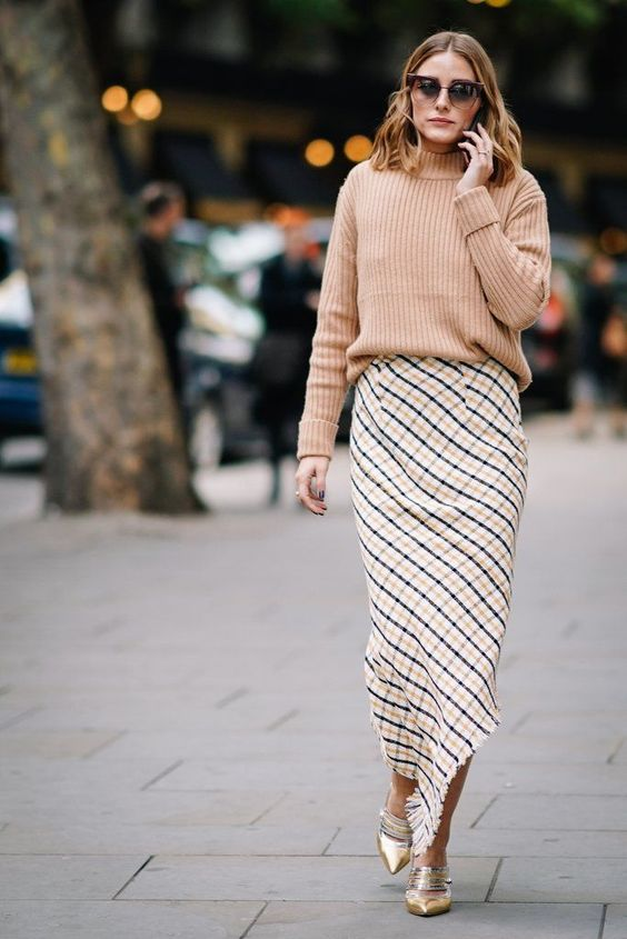 asymmetrical skirt sophisticated camel sweater