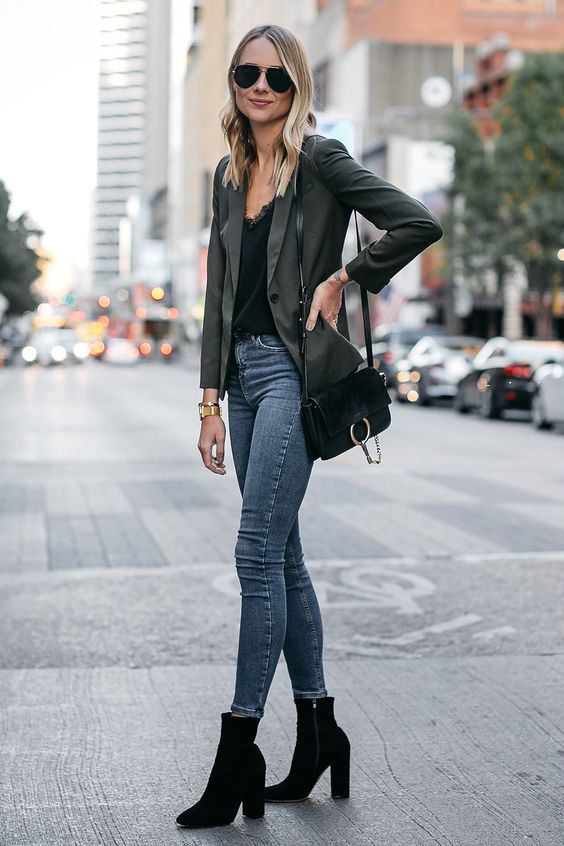 green blazer chic casual