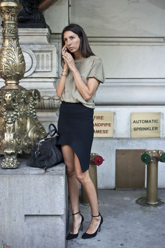 asymmetrical skirt casual french