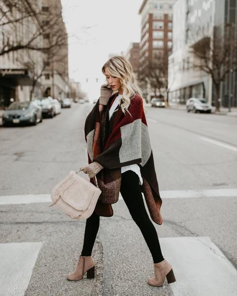 hooded poncho neutral tones