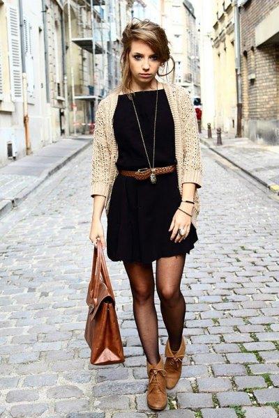 beige cardigan black belted mini dress
