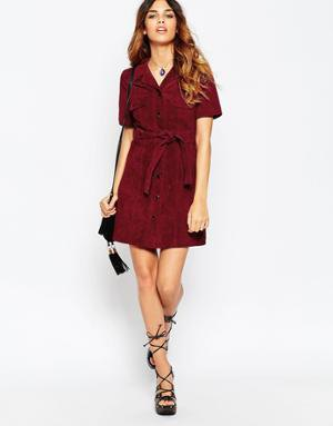 belted burgundy shirt dress black strappy heels