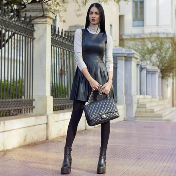 15 Stylish Chic Ways To Style Black Leather Dress Fmag