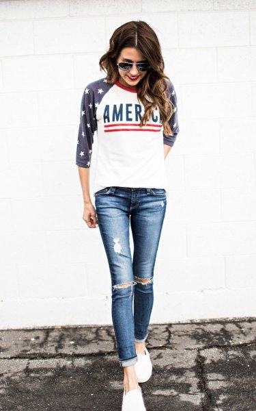 black american flag baseball tee ripped skinny jeans
