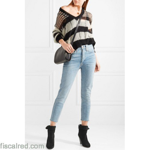 black and grey striped v neck sweater cropped jeans