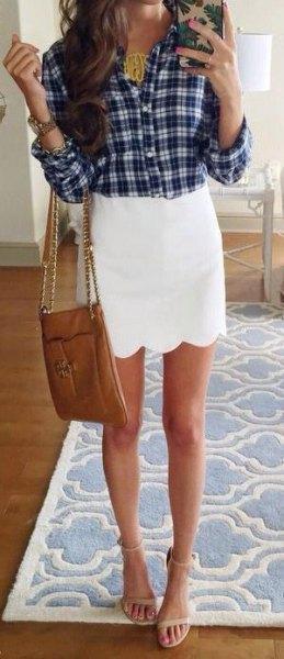 black and white plaid boyfriend shirt scallop mini skirt