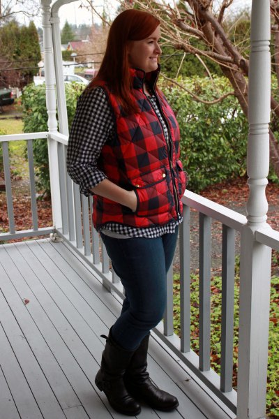 black and white plaid button up shift jeans