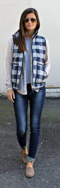 black and white plaid vest with white linen shift jeans