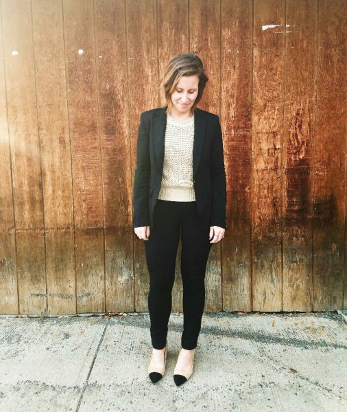 black blazer pink sweater ponte pants