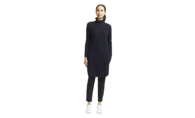 black cashmere sweater dress leather pants