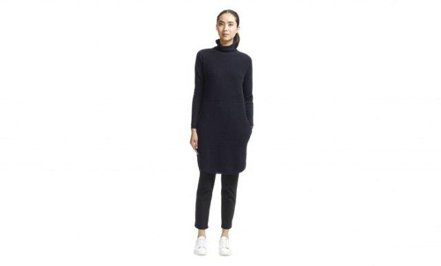 black cashmere sweater dress leather pants