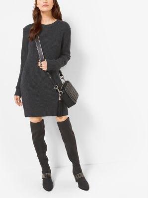black cashmere sweater mini dress thigh high boots