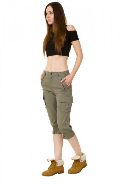 black cold shoulder crop top knee length khaki cargo shorts