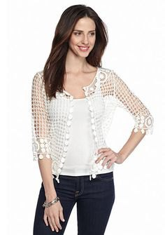 black crochet lace shrug vest top skinny jeans
