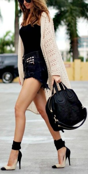 black denim shorts vest top white crochet long cardigan