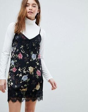 black floral scalloped hem dress white turtleneck sweater