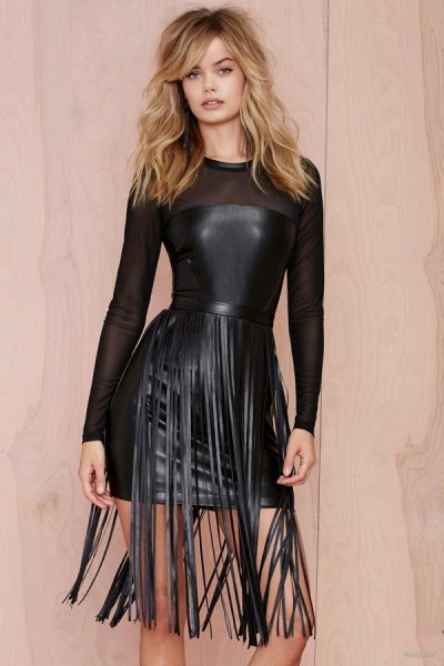 black fringe belt semi sheer mini leather dress
